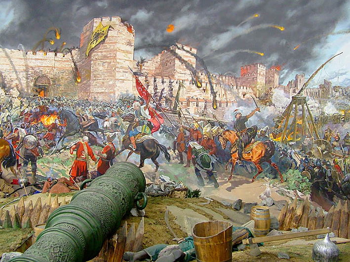 Fall of Constantinople to Ottoman Turks in 1453
