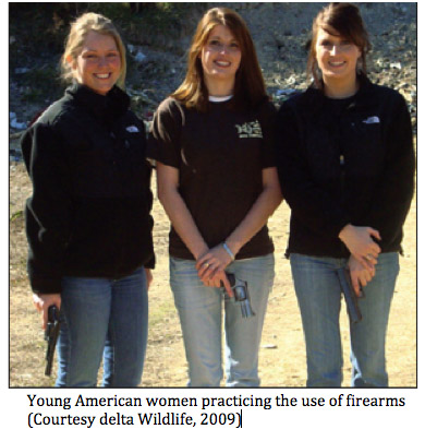 American Women practicing the use of firearms