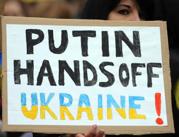 Putin Hands Off Ukraine sign